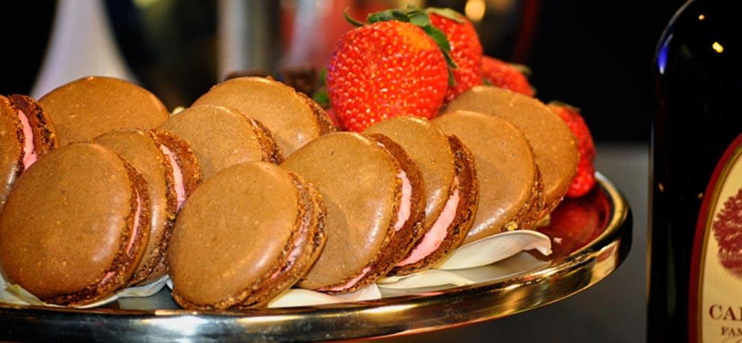 Chocolate Piquin Chili Macaroon with Strawberry Center