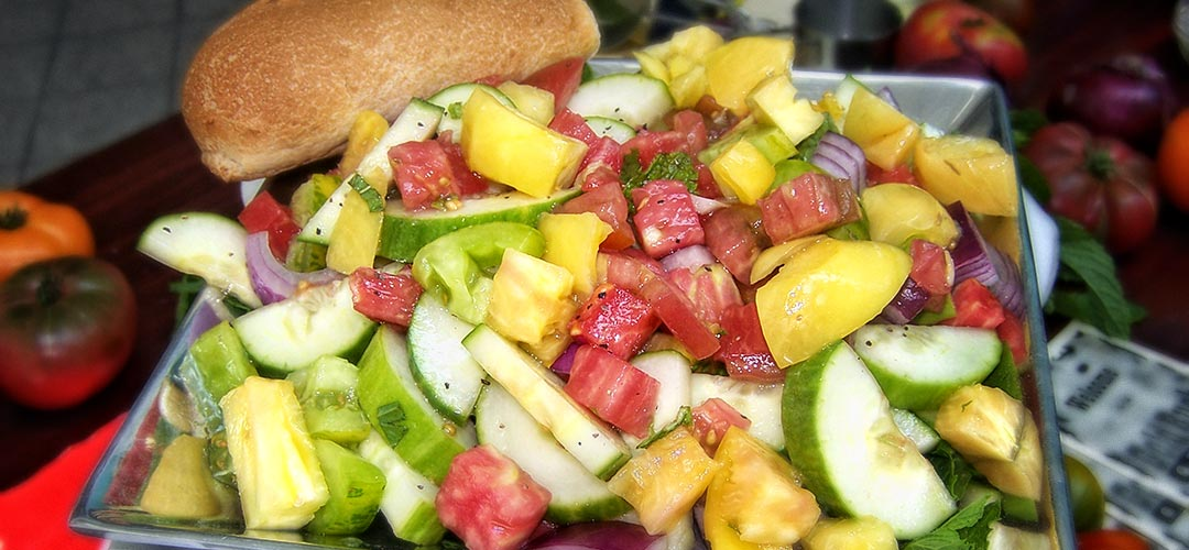 Heirloom Tomato, Cucumber and Red Onion Salad with Mint